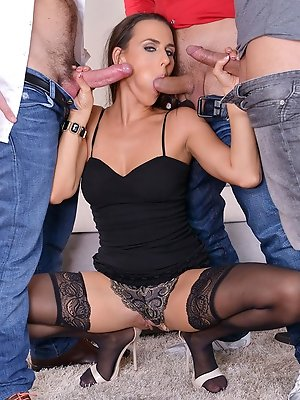 The Studs And The Babe: Hot Czech Chick Gets Stuffed By Three Rods